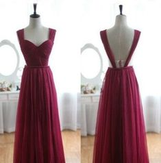 2016 long prom dresses, burgundy backless prom dress, legant Straps, A-line Long Burgundy Prom Dress, Evening Gown,