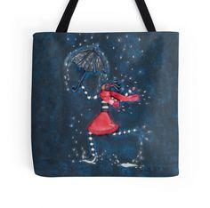 Tote Bag with Original Girl with Umbrella Art Design by Deidre Dreams