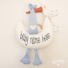 Stork softie newborn decoration - Fiocco nascita cicogna - customisable name - baby boy - blue.