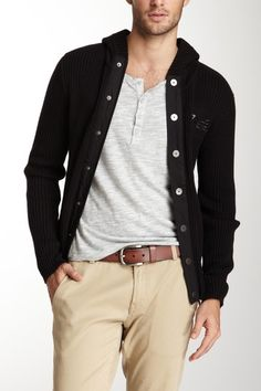 nice dark button cardigan for men