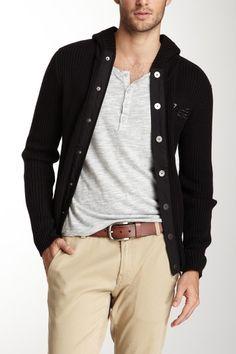nice dark button cardigan for men