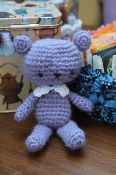 Cute fuzzy bear with collar by CraftyQueens