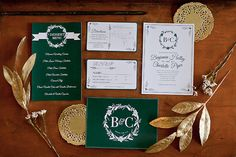 this vintage green and gold wedding invitation set is lovely and makes a wonderful initial impact. Art Deco Wedding Invitations, Wedding Invitation Sets, Wedding Wishes, Wedding Bells, Fine Paper, Menu Cards, Stationery Design, Vintage Green, Green And Gold