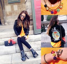 Kel loves orange (by Annet Noel) http://lookbook.nu/look/4759621-Kel-loves-orange-Herm-s-Braslate-Louis-Vuitton-Braslet-Chanel-Bag-Mirrored-Glasses-Bambi-Jacket-Louis-Vuitton-Neckless
