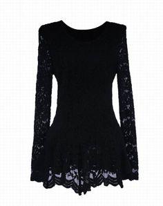 Wholesale Elegant Ruffle Lace Splicing Long Sleeve Blouse For Women (BLACK,L), Blouses - Rosewholesale.com