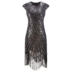 37600760c09 1920s Flapper Gatsby Gala Beige Black Cherry Sequin Fringe Party Dress XS-XL