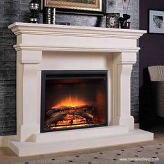 The Lyon Marble Mantel - Medium is a classic, traditional design perfect for updating a tired old fireplace. Wooden Fireplace, Stone Fireplace Mantel, Prefab Fireplace, Marble Fireplaces, Fireplace Design, Fireplace Mantel Designs, Diy Fireplace Mantel, Fireplace, Marble Fireplace Mantel