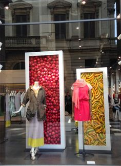 """Miroglio Piazza Della Scala, Milan,Italy, """"Fashion with the colors of fruit!"""", photo by Lucilla Trotta, pinned by Ton van der Veer"""