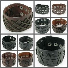 Punk Weave Pattern Gothic Leather Men/Lady Button Wristband Cuff Bracelet UH062