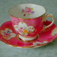 Teatime - look at that color! Pink Floral Tea Cup
