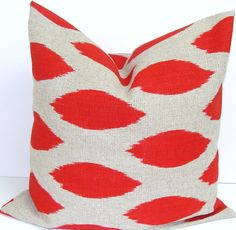 RED PILLOW.16x16 inch.Discontinued Fabric.Printed Fabric Front and Back.Home Decor.Cushion.Cm.Ikat.Red and Brown Pillow.41 cm Cushion