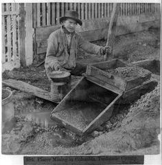 Placer Mining in Columbia, Tuolumne County, California. The Rocker
