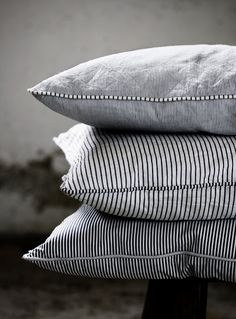 Heart these cushions. Blue and white stripes. Striped Cushions, Ticking Stripe, Ticking Fabric, Striped Linen, Home And Deco, Soft Furnishings, Home Textile, Home Accessories, Bed Pillows