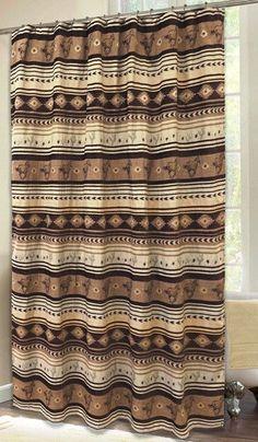 "(CARJB4177) ""Brown Mustang"" Western Shower Curtain"