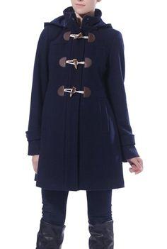 Momo Maternity Wool Blend Pleated Duffle Toggle Coat - Navy