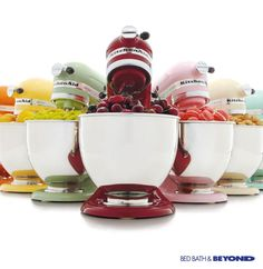 Choose from more than 30 different colors to match your kitchen (or not!), and then you can master recipes by creating dishes and baked goods with dozens of attachments.