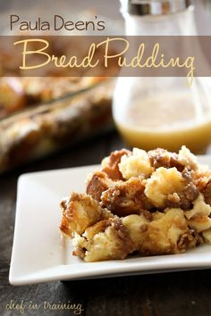 Paula Deen's Bread Pudding IN THE OVEN NOW, WE WILL SEE! Ok, this is the best bread pudding ever, but I will decrease the amount of sugars in it next time. I didn't make the sauce, way rich already. Just Desserts, Delicious Desserts, Dessert Recipes, Yummy Food, Pudding Recipes, Dessert Healthy, Oreo Dessert, Dessert Bread, Paula Deen Bread Pudding
