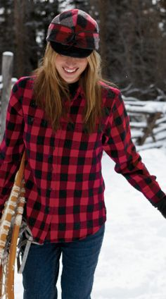 Traditional red and black check flannel shirt from Woolrich. The pure cotton flannel keeps you comfy and warm on cold fall and winter days. #woolrich1830