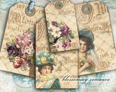 blossoming romance tags instant download by digitalRefugium, €2.90
