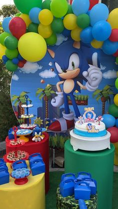 Sonic Birthday Parties, Sonic Party, Dinosaur Birthday Party, Boy Birthday, 1st Birthday Decorations, Birthday Party Themes, Hedgehog Birthday, Sony, Shark Party