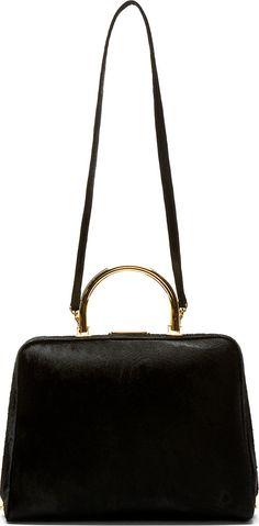 Simone Rocha Black Calf-Hair Top Handle Bag