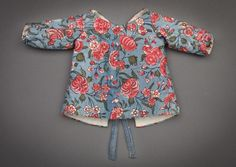 Child's jacket. Textile, Coromandel Coast, India, garment constructed in The Netherlands, 18th century. Cotton, mordant- and resist-dyed, and painted; lined with linen, and fitted with cotton twill tape. 9 inches (22.9 cm) length. Peabody Essex Museum, Salem, Veldman-Eecen Collection, 2012.22.35. Photograph by Walter Silver.