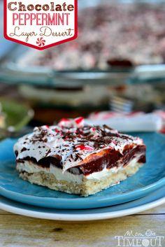 Chocolate Peppermint 4 Layer Dessert | MomOnTimeout.com | #chocolate #peppermint #dessert