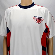 USA Eagles Classic Rugby White XL Shirt Red Blue Stripes X treme Sports Wear   XtremeSportsWear 84dc47843