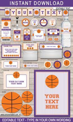 Printable Basketball Party Set  Purple & Orange  by SIMONEmadeit