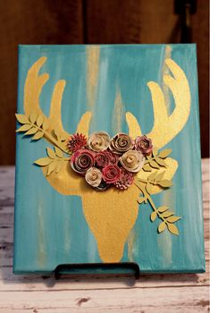 Hand painted gold buck with handmade paper flowers adorning the antlers Deer Art, Deer Antlers, Home Decor Items, Flower Crown, Decorative Items, Crafts To Make, Paper Flowers, Paper Crafts, Hand Painted