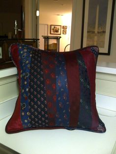 A Pillow made from Silk Neck Ties