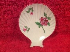 AntiqueFrench-Faience-Majolica-Individual-Oyster-Shooter-Plate-Rose-op288
