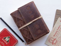 Handmade Leather Embossed Journal from Scaramanga