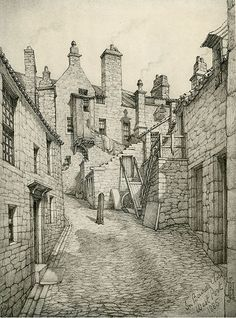 Old Houses in Edinburgh - Drawing by Bruce J Home - Baird's Close, looking south Building Drawing, Building Art, Village Drawing, Pencil Drawings Of Animals, Perspective Drawing, Wood Burning Art, Architecture Old, Urban Sketching, Old Houses