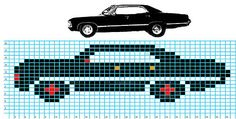 Crafting in Yoohooville: Supernatural Impala Dishcloth Supernatural Impala, Perler Beads, Fuse Beads, Beaded Cross Stitch, Cross Stitch Embroidery, Cross Stitch Patterns, Perler Bead Templates, Perler Patterns, Loom Beading