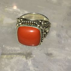 Artisan Crafted Sterling Cushion Red Jasper Gemstone Ring Size 8