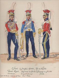 Tenente, tromba e guardia del reggimento guardie d'onore del regno di Murat