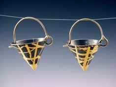 markaplan - keum boo cone earrings silver and gold, via Etsy.