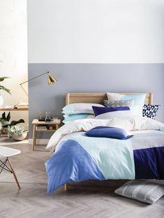 LINEN HOUSE QUILT COVERS VAN BLUE DOUBLE QUILT COVER SETS