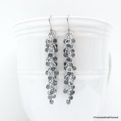 Gray beaded chainmaille earrings, Shaggy Loops weave