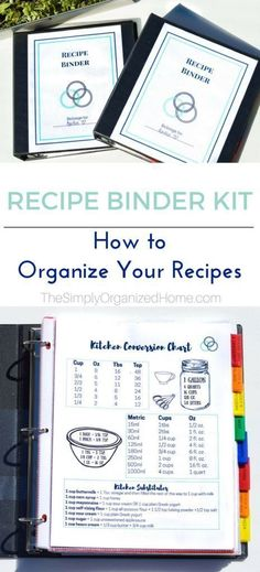 Organize your recipes with this easy to use recipe binder kit! Organize your recipes with this easy to use recipe binder kit! Binder Organization, Recipe Organization, Kitchen Organization, Organizing Labels, Organized Kitchen, Organizing Life, Organizing Ideas, Family Recipe Book, Recipe Books