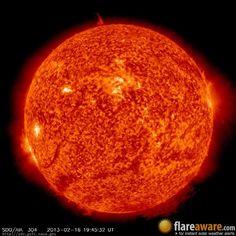The hourly sun (at 07:45 pm  UTC on 16 February 2013)