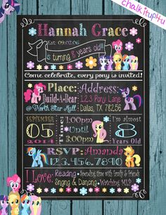 MLP MY Little Pony my little ponies chalkboard chalk invitation wall art print birthday custom personalize printable unlimited party