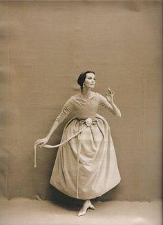 Carmen Dell'Orefice wearing Dior by Yves Saint Laurent. Photo: Richard Avedon, 1957