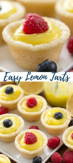 These easy lemon tarts only have 3 ingredients and they're done in under 30 minutes. The perfect quick dessert for any party or any time a lemon craving hits. desserts for one Easy Lemon Tarts New Year's Desserts, Quick Easy Desserts, Desserts For A Crowd, Easy Lemon Desserts, Desserts For Dinner Party, Desserts For Birthdays, Dessert Ideas For Party, Healthy Fruit Desserts, Dessert Bar Wedding