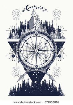 Mountains and antique compass tattoo art. Adventure, travel, outdoors, symbol. Compass, mountains and night forest boho style, t-shirt design