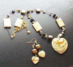 Picture jasper heart gemstone necklace set with by HrtsofStone, $130.00