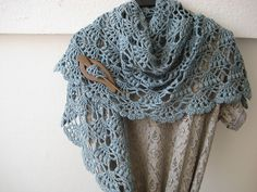 Ravelry: fanalaine's Elegant Shawl Free Pattern ~ made with sport weight yarn instead of bulky as pattern suggests. Love the lacier look!
