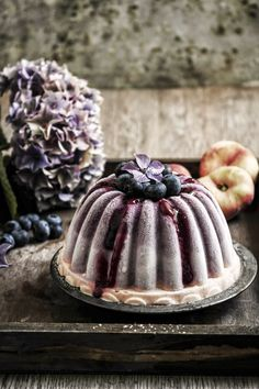 Peach and Blueberry Frozen Yogurt Cake | Twigg Studios