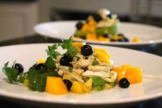 This is not the typical crab salad. It's elegant, refined and gorgeous – the colors of the avocado, mango and blueberries with the white crab.